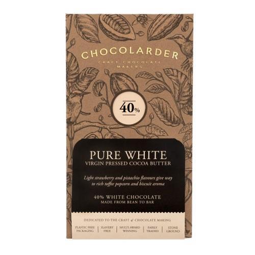 Chocolarder Pure White 40% Chocolate 70g Image 1