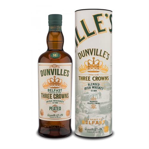 Dunvilles Peated Three Crowns Blended Irish Whiskey 70cl Image 1