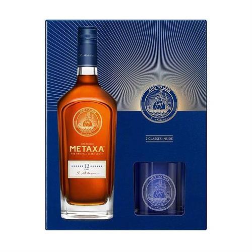 Metaxa 12 Star Brandy Glass Pack 70cl Image 1